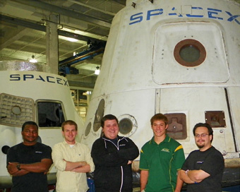 jonathan sanders second from the right and his colleagues at spacex photo courtesy of jonathan sanders
