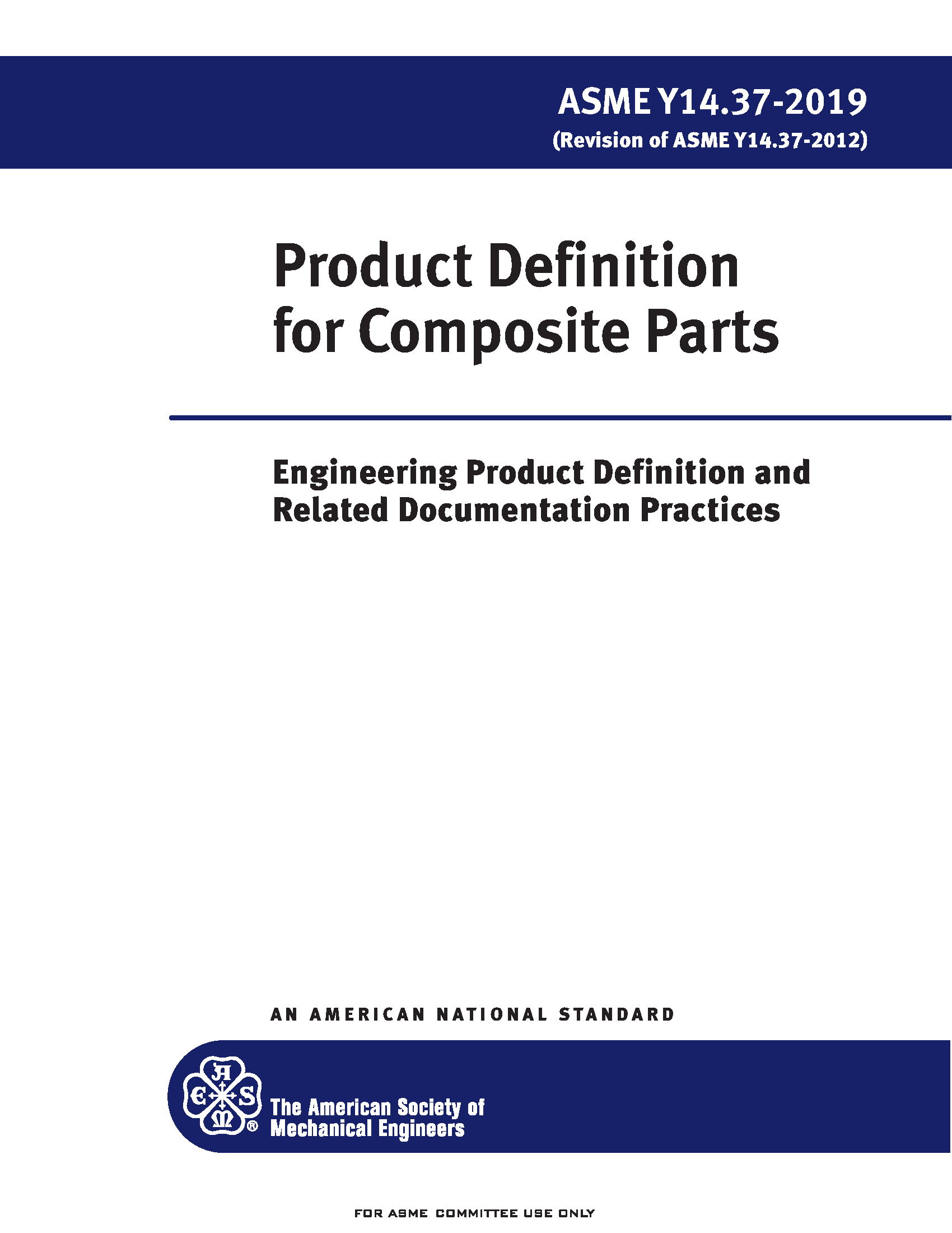 ASME Y14.37 2019 Product Definition for Composite Parts Standard