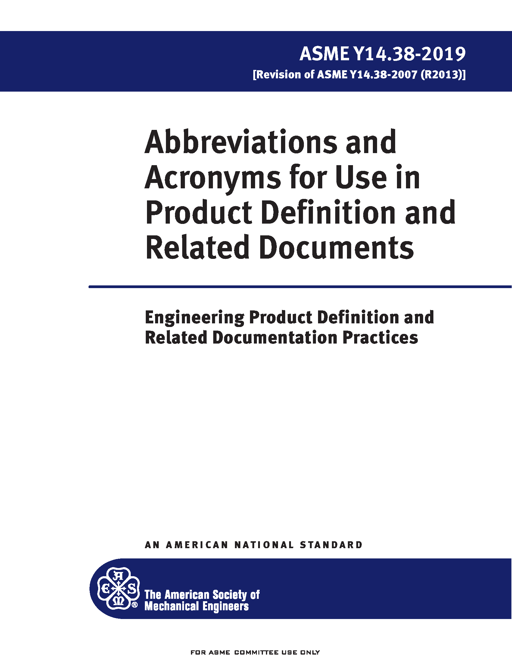 ASME Y14.38 2019 Abbreviations and Acronyms for Use on Drawings and Related Documents Standard
