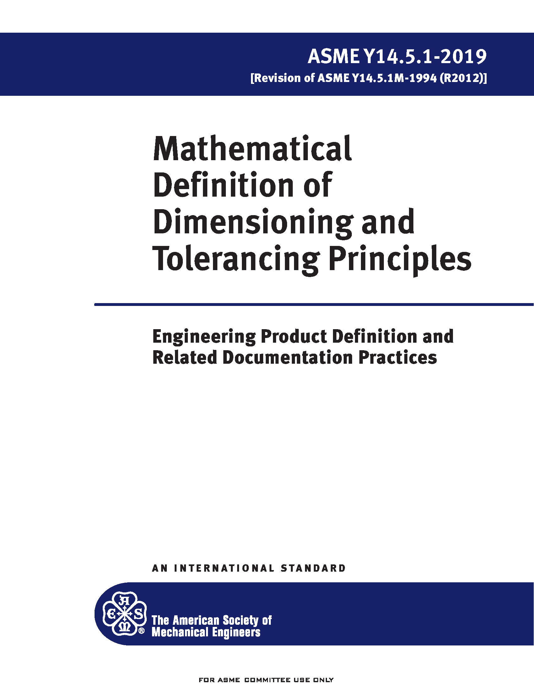 ASME Y14.5.1 2019 Mathematical Definition of Dimensioning and Tolerancing Principles Standard